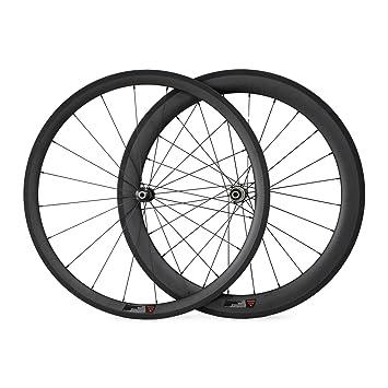 VCYCLE 700C Rueda Delantera DE 38 mm Trasera DE 60 mm de Fibra de Carbono para Bicicleta de Carretera Shimano o Sram 8/9/10/11 Velocidad: Amazon.es: ...