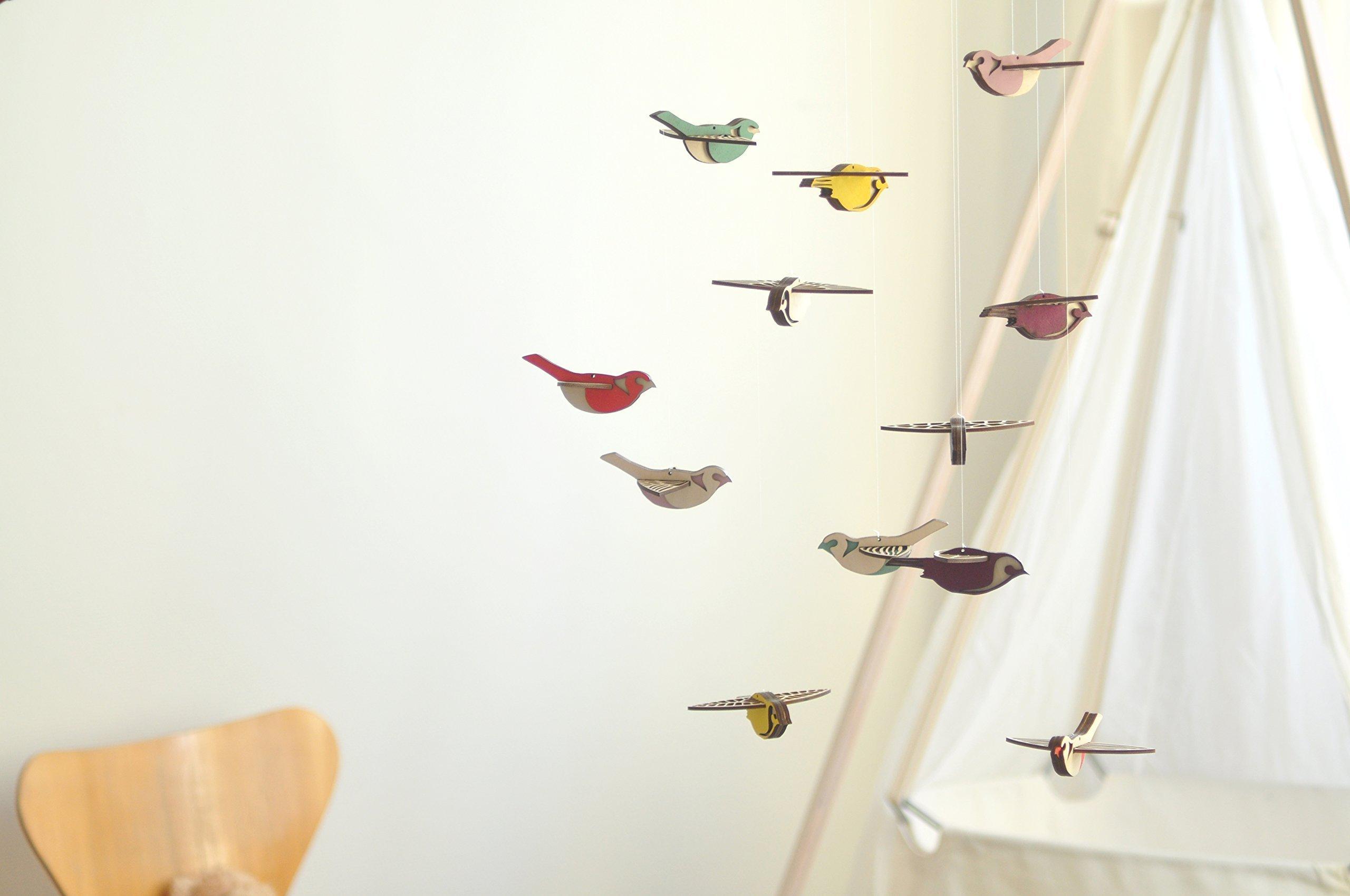 Flying High Bird mobile large - wooden mobile - nursery mobile