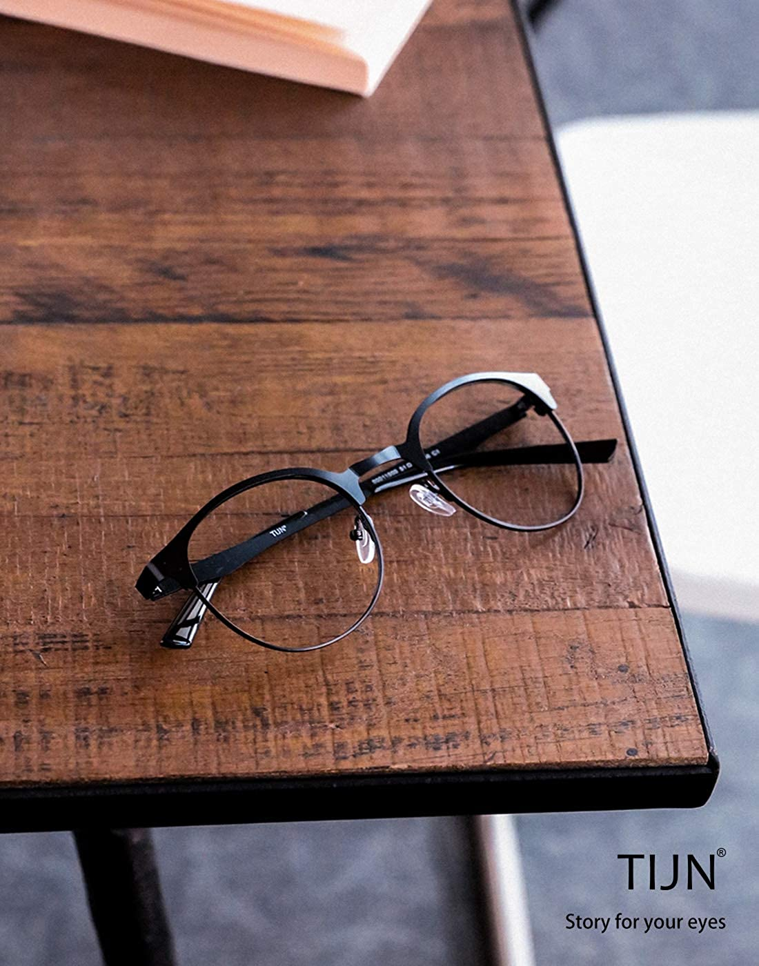 b6c697969dba Amazon.com: TIJN New Round Metal Non-Prescription Glasses Frame with Clear  Lens: Sports & Outdoors