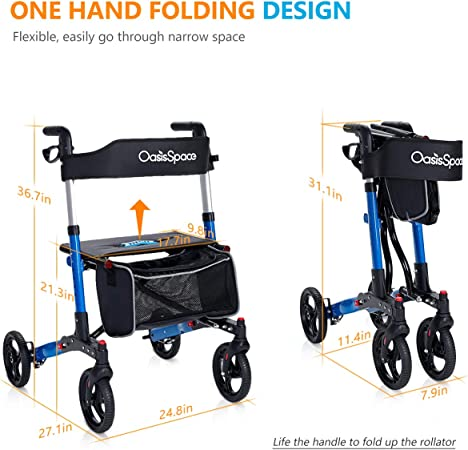 Amazon.com: OasisSpace - Caminero plegable con asiento ancho ...