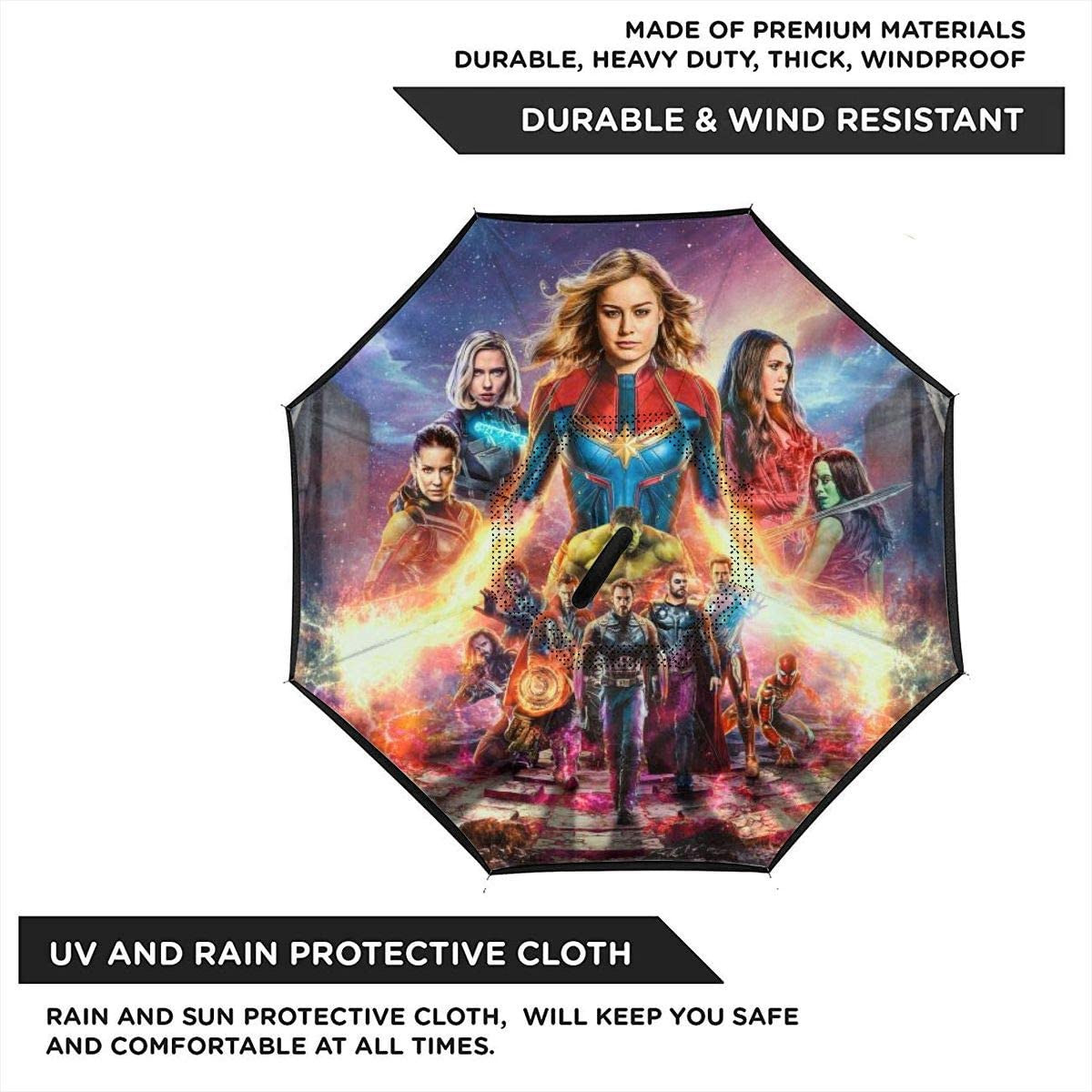The Avengers Car Reverse Umbrella Windproof And Rainproof Double Folding Inverted Umbrella With C-Shaped Handle UV Protection Inverted Folding Umbrellas