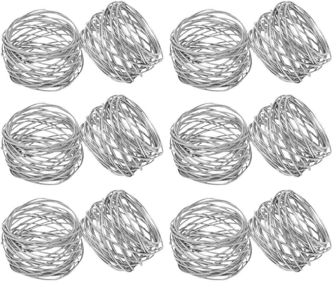SKAVIJ Metal Mesh Napkin Rings Set for Dining Table Decoration (Dia-2 Inch, Pack of 12, Silver) by SKAVIJ