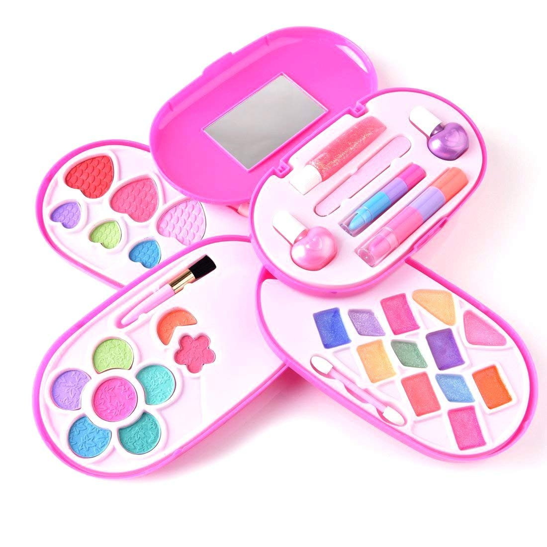 BonnieSun Kids Makeup Kits Girls Washable Cosmetics Dress-up Toys Safety Tested Vanity Deluxe Beauty Palette Set Mirror by BonnieSun (Image #3)