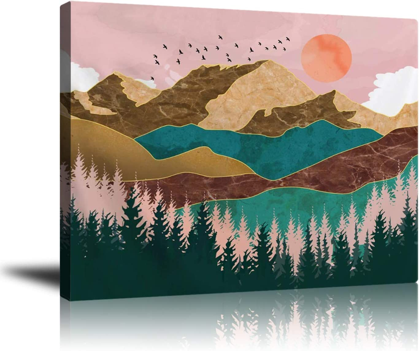 """Abstract Wall Art Mountain Canvas Prints, Nature Landscape Sunset Painting Framed Picture, Home Decor for Hall Living Room Bedroom Bathroom (16""""x 20"""")"""