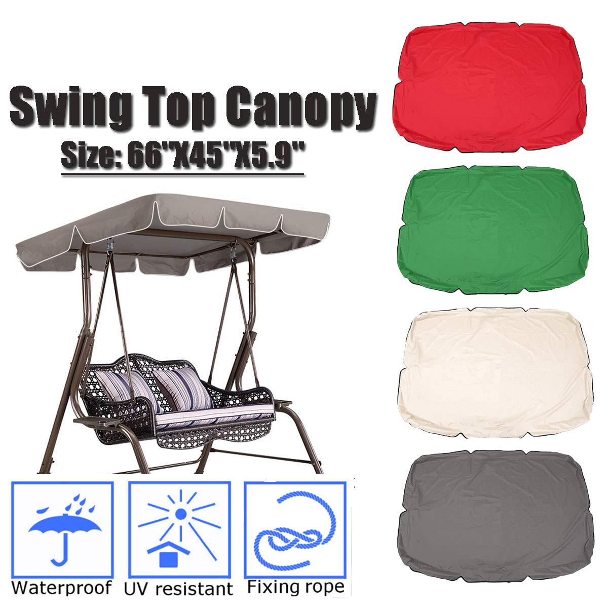 KING DO WAY Swing Chair Canopy Cover Hammock Replacement for Garden Patio Outdoor, Waterproof UV Resistant 66''X45''X5.9'' Khaki
