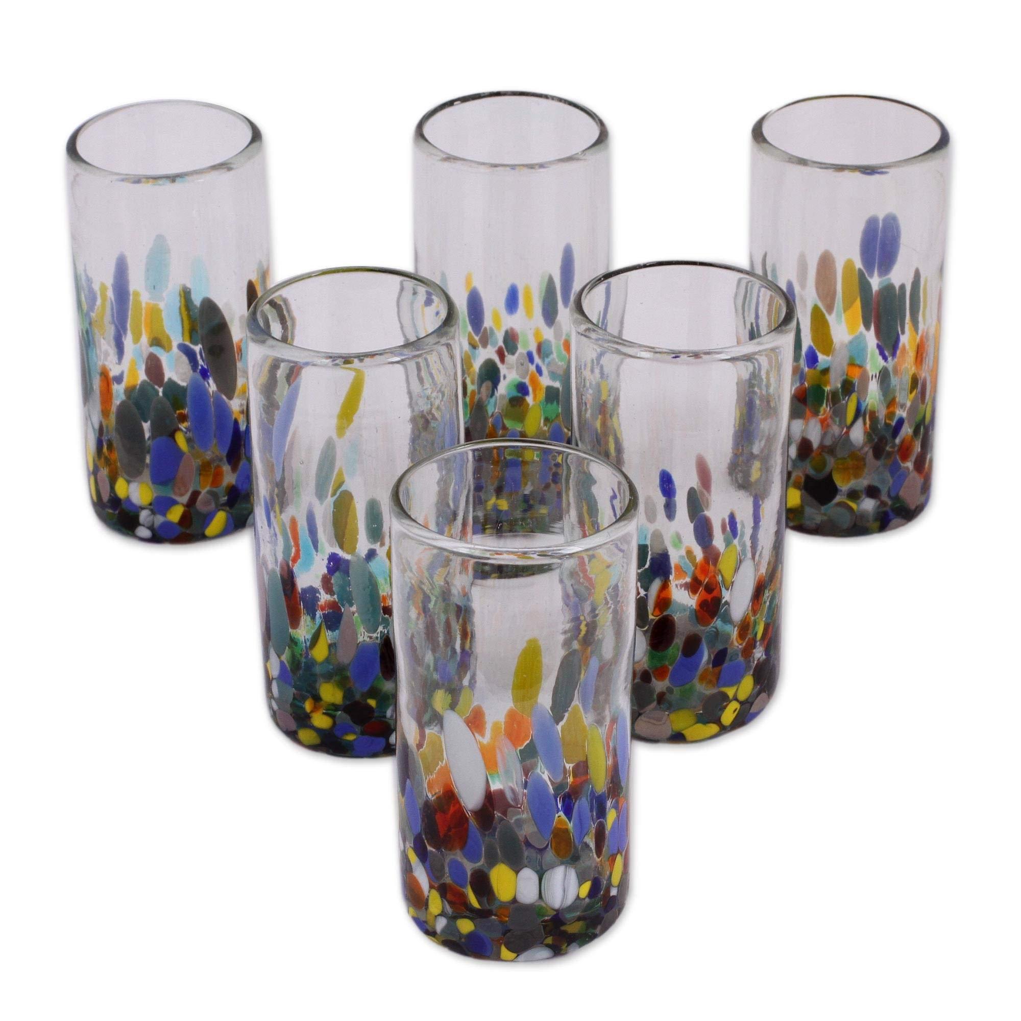 NOVICA Multicolor Eco-Friendly Hand Blown Glass Highball Glasses, 'Confetti Festival' (set of 6) by NOVICA