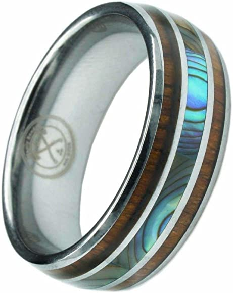 Jewels By Lux Tungsten Gold-Tone Center Grooved Highly Shiny Comfort-fit 8mm Wedding Band Ring