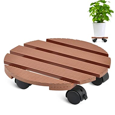CERBIOR Plant Caddy Heavy Duty Plant Caddy with Wheels Indoor/Outdoor Holds up to 12 Inches and 80 Lbs Strong and Sturdy Design (Round, Merbau)