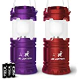 MalloMe LED Camping Lantern Flashlights with 6 AA Batteries, Pack of 2 (Red/Purple)
