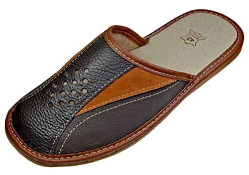 453ae7c9547a1b Reindeer Leather Mens House Slipper –Genuine Sheepskin Leather Closed Toe  Slippers with Breathable & Odor Resistant Sole, Therapeutic Foot Bed &  Traction ...