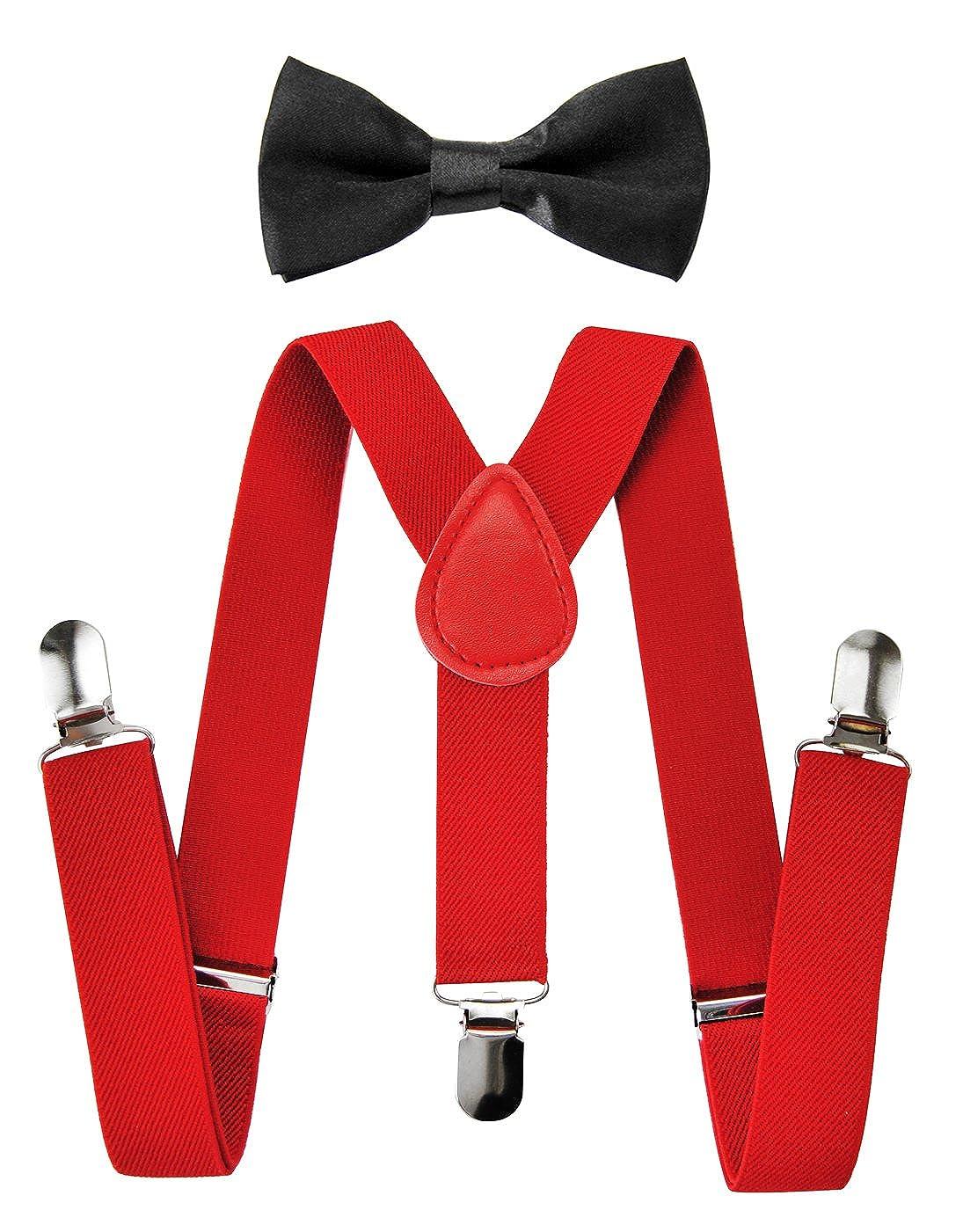 axy Kinder Rote Hosenträger-Y Form mit Fliege- 3 Clips EXTRA STARK HTKS25-ROT