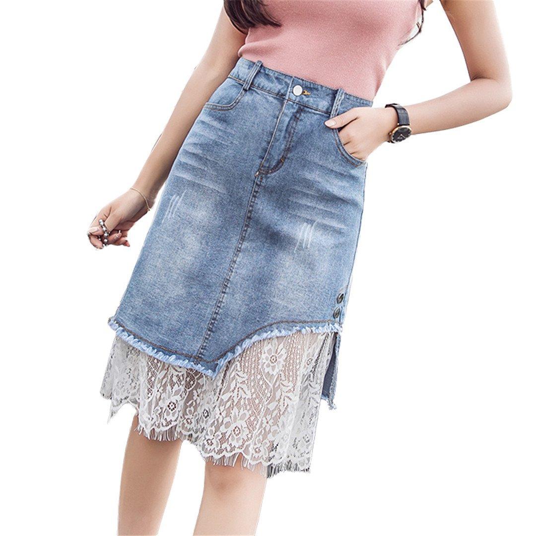 Erongeoneg Denim Skirts Women Lace Mesh Patchwork Skirts Womens Harajuku Boho Plus Size Jeans Jupe Femme