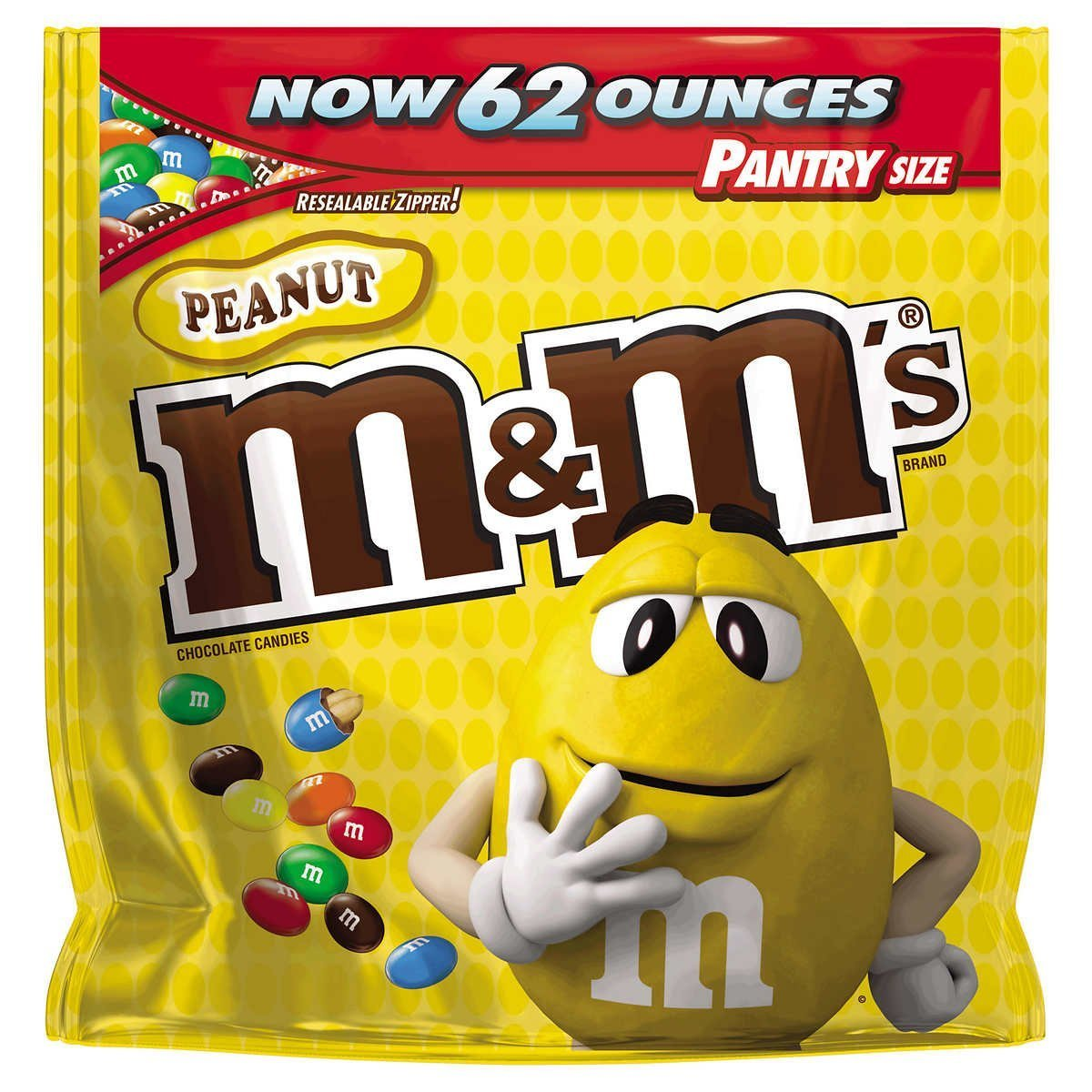 Peanut M&M's Chocolate Candies, Pantry Size 62 oz. Resealable Bag