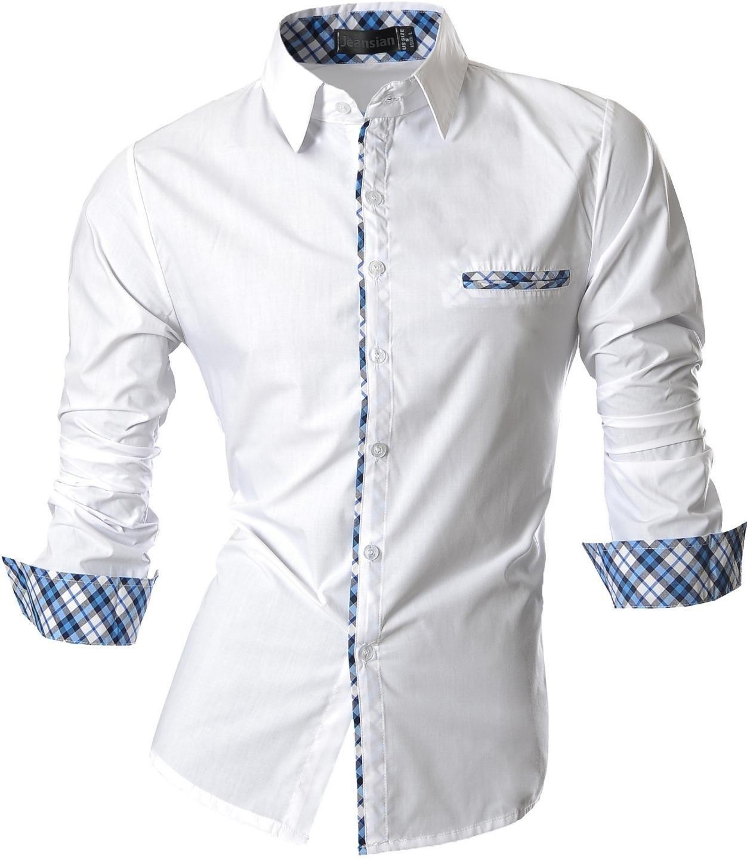 jeansian Men's Fashion Slim Long Sleeves Casual Shirts Dress Shirts Tops Z020 White XL