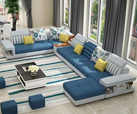 Amazon.com: My Aashis Modern Luxury U Type Fabric Sofa ...