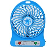 USB Desk Fans Connected with Computer,Tablet,Power Bank,with 18650 Lithium Battery,Ikevision 3 Speeds Strong Powerful Small Fan (Blue)