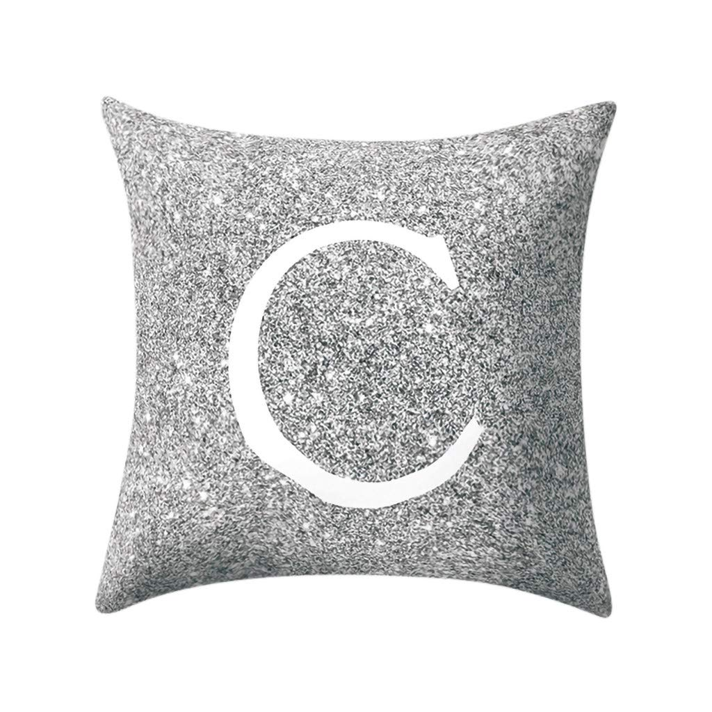 Letter Pillow Case Covers Metallic Throw Pillow Case 18x18'' A-Z Letter Alphabets Cushion Cover for Home Sofa Couch Decor (C)