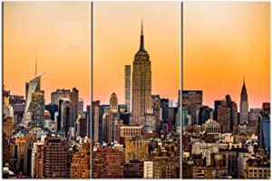 Artsbay 3 Pieces New York City Canvas Wall Art Prints Manhattan Downtown Skyline Buildings Cityscape Sunset Picture Empire State Building Photography Modern Home Decor for Living Room Bedroom Office