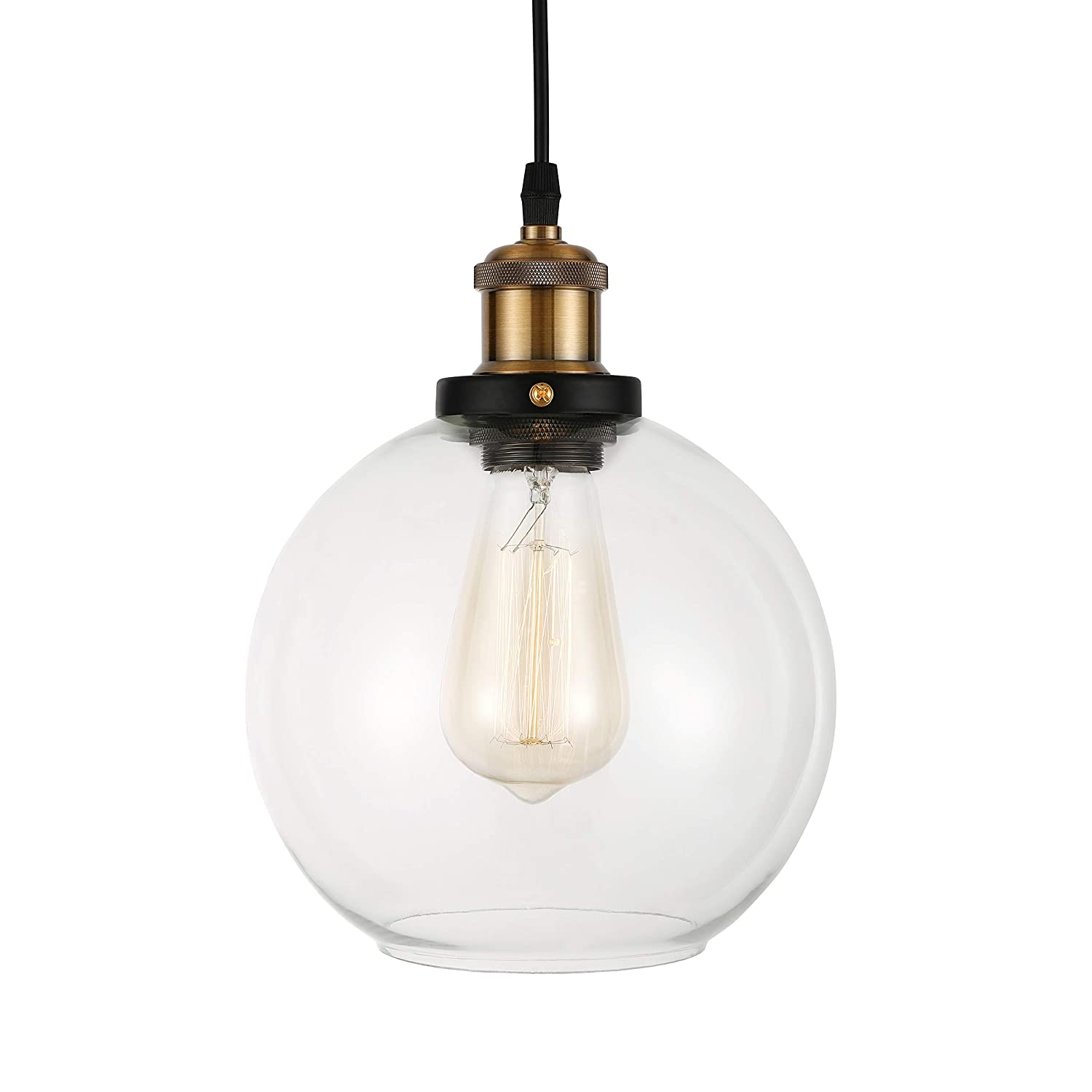 Baycheer hl409803 industrial vintage style clear glass globe mini pendant light ceiling lighting ceiling lamp with 1 light