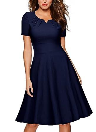e9482068e0c4 MISSMAY Women's Retro 1950s Short Sleeve A-Line Cocktail Party Swing Dress  Navy Blue S