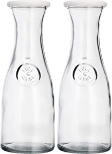 Glass Carafe Pitcher with White Silicone Lid - 1 Litre - 33.8 oz - 4 1/8