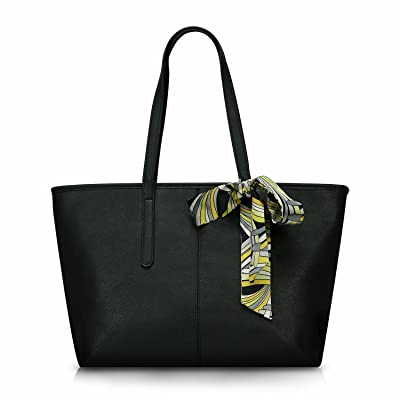 Minch 906 Pu Leather Designer tote Handbags shoulder Bags for Women Work on clearance large (Black)