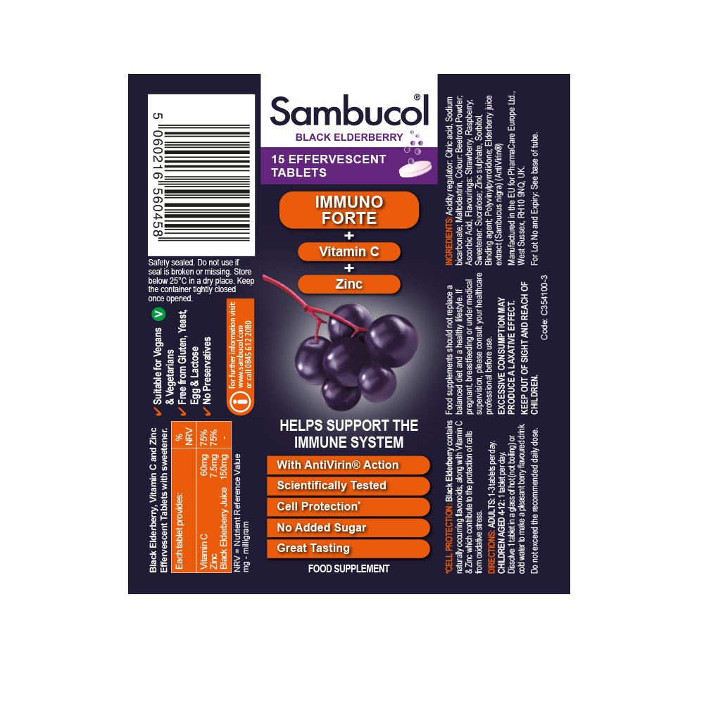 714501eef3c4 Sambucol Natural Black Elderberry Immuno Forte Effervescent Tablets with  Vitamin C