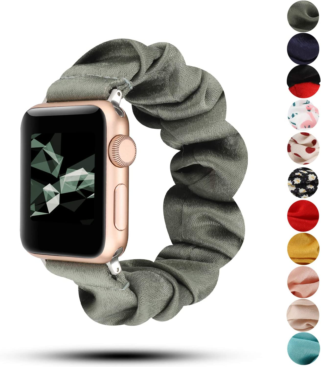 Women Scrunchie Bands Compatible for Apple Watch Band 38mm 40mm 42mm 44mm,Cute Pattern Printed Bracelet Replacement Wristbands for iWatch Series 5 4 3 2 1 (Gray Green, 38/40mm)