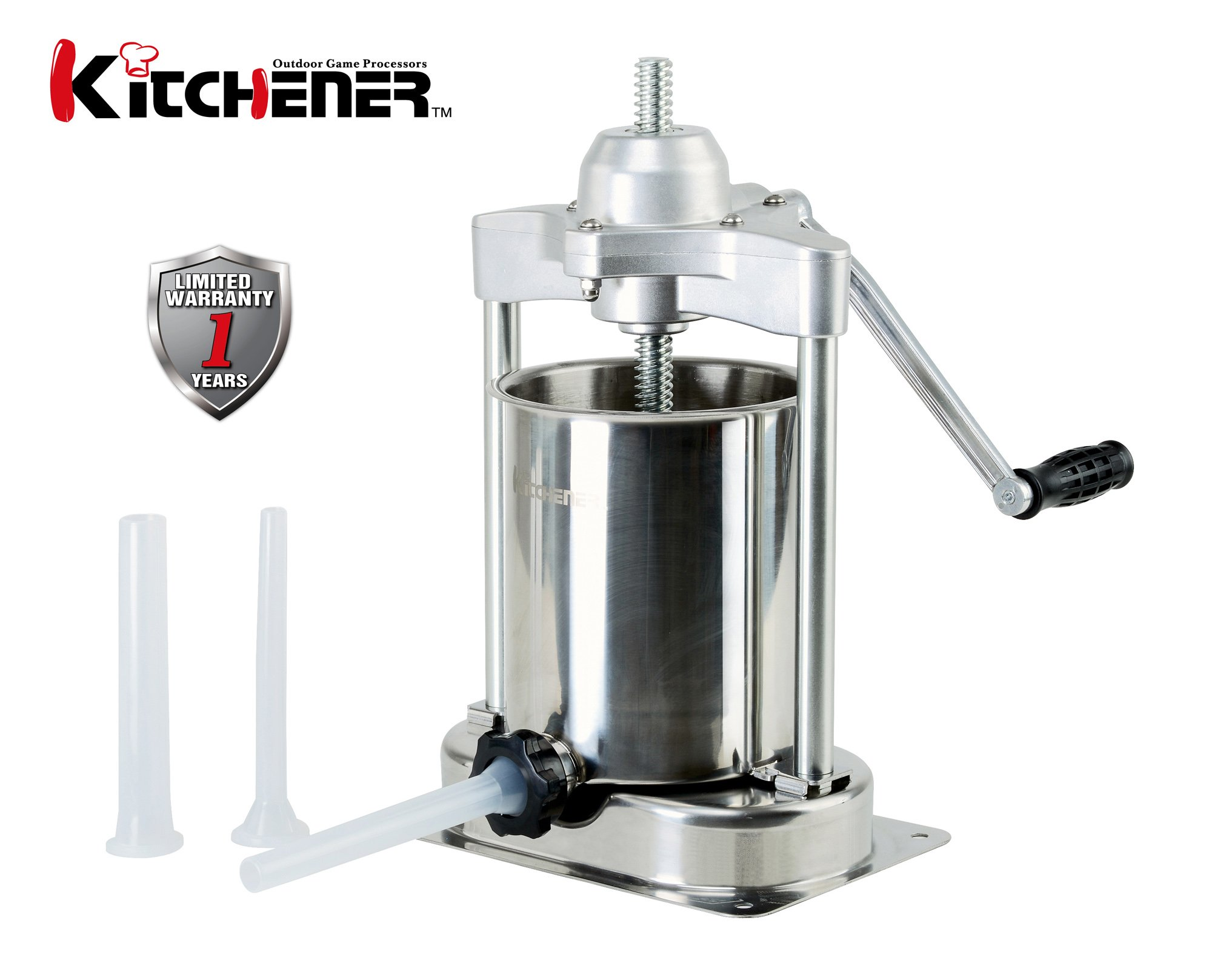 KITCHENER- Heavy Duty Stainless Steel Vertical Sausage Stuffer/Filler/Maker with 3 Stuffing Tubes (Heavy Duty: 15-Lbs)
