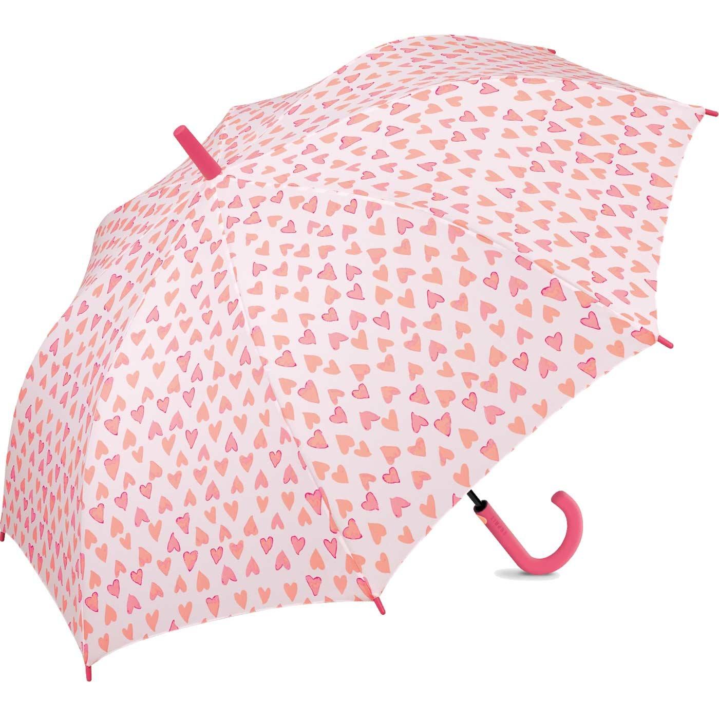 Parapluie coeurs roses automatique Esprit gris