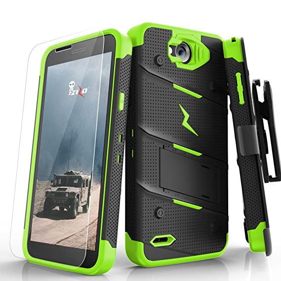 designer fashion 0fed4 e94b3 Zizo Bolt Series compatilbe with LG X Charge Case Military Grade Drop  Tested with Tempered Glass Screen Protector Holster Black NEON Green