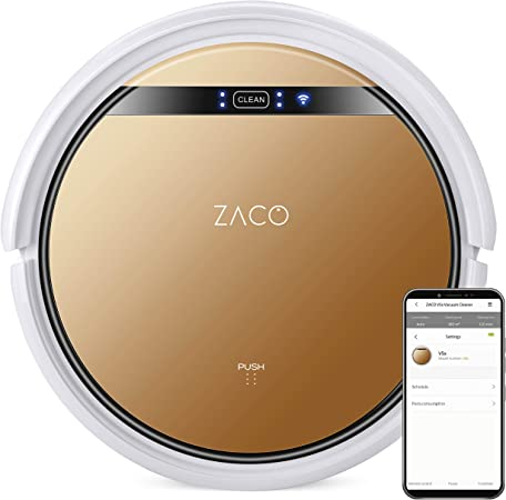 ZACO V5x - 2 en 1 robot aspirador friegasuelos con 4 modos de limpieza, modo Max y sensores inteligentes, con base de carga, app y servicio de voz Alexa, marrón bronce: Amazon.es: Hogar
