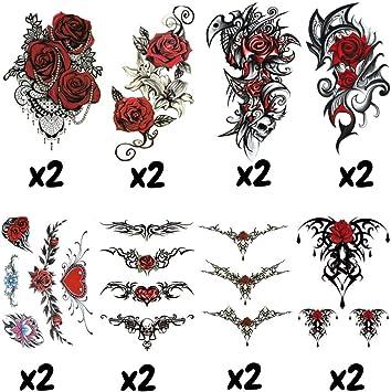 X16 Tatouages Temporaires Tribal Sensuel Et Tattoo Ephemere Sexy Femme Taille 15x21cm Au Total 38 Tatouages Avec Fleur Rose Rouge Provocants Et Tribal Pour Seduire 2 X8 Planches Dans Ce Lot Amazon Fr