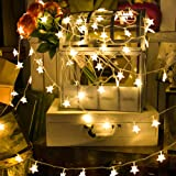 wenku 40LED Star Heart String Lights,Star Christmas Lights,Twinkle Fairy Lights Battery Operated for Home, Party, Christmas, Wedding, Garden