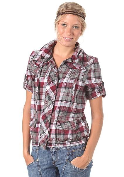 de Culture Women aire libre Amazon Mujer Check Deportes LS Camiseta y Vans Camisa es qf50tt