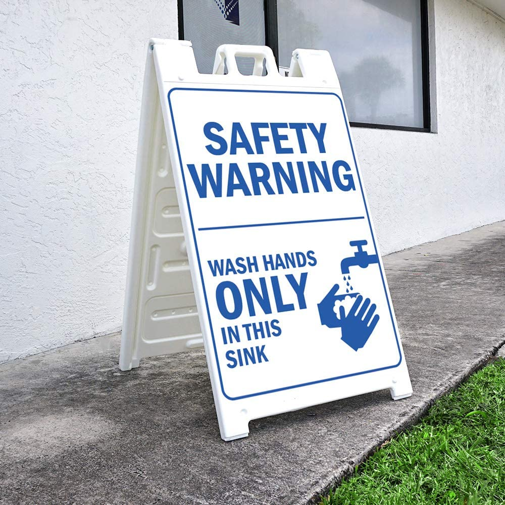 Class Room Office /& Interior Surroundings 24 X 36 Print Size Sidewalk Sign with Graphics On Each Side OSHA Notice Sign Protect Your Business Safety Warning /Made in The USA