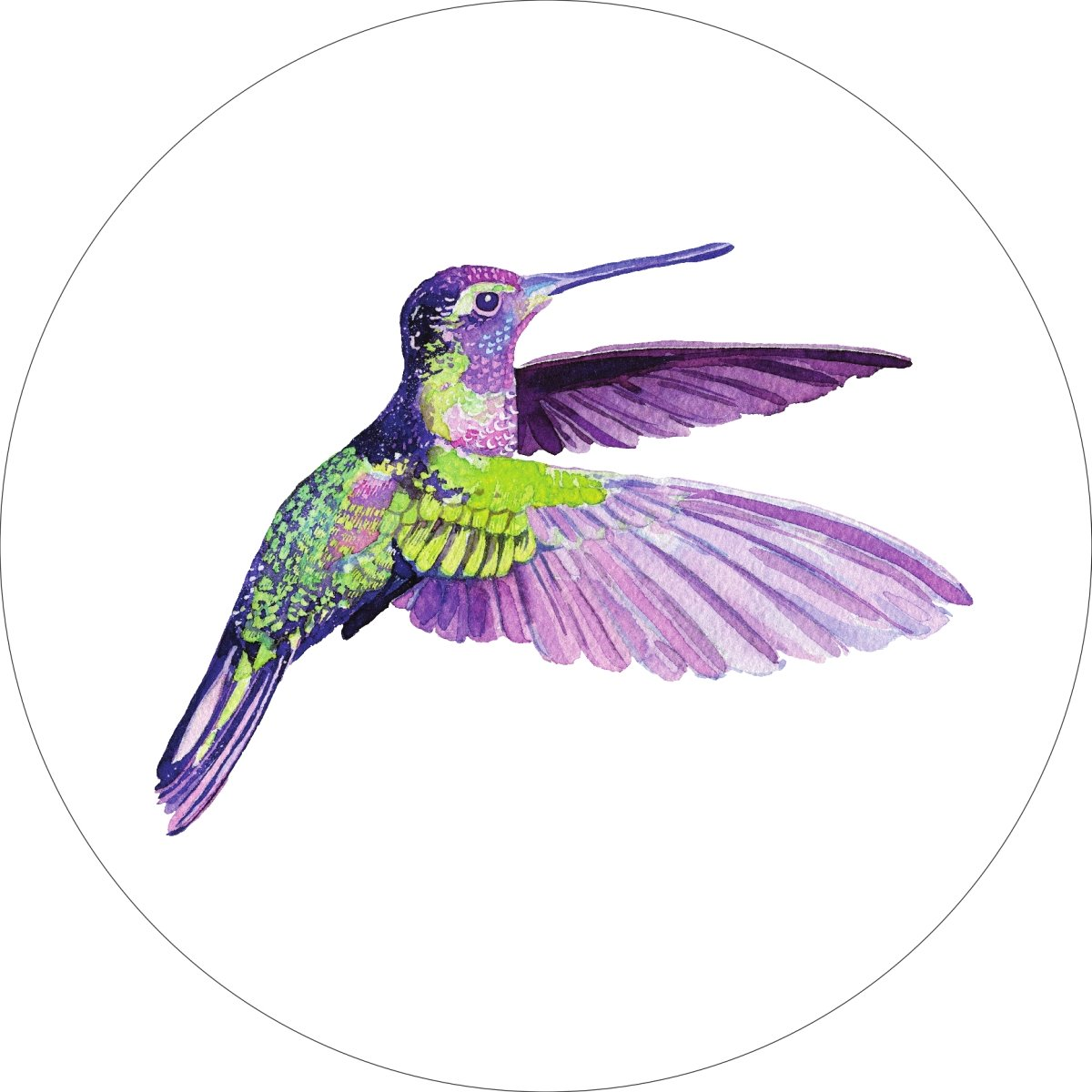 Hummingbird Home Wall Shelf Decor Animal Decorations Watercolor Round Sign - 18 Inch, Metal