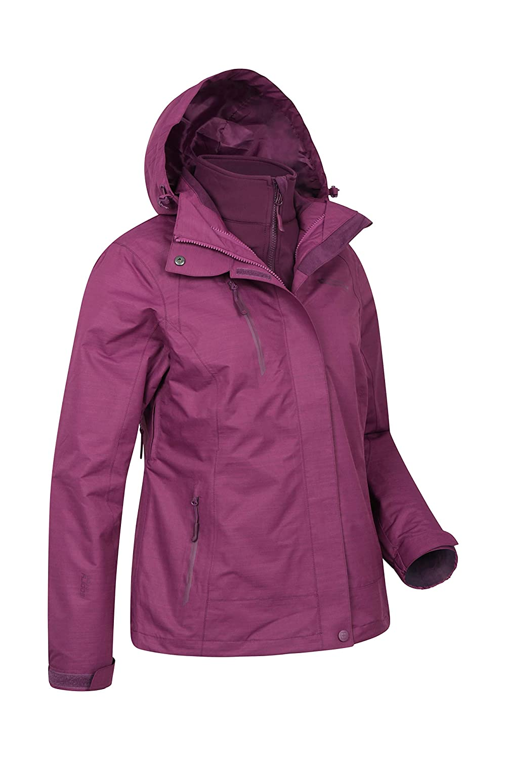 19cc9016d1 Mountain Warehouse Bracken Melange Womens 3 in 1 Jacket - Breathable Ladies  Casual Summer Coat