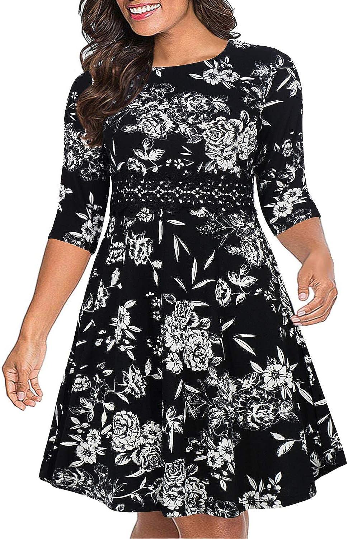 Nemidor Womens 3//4 Sleeve Embroidery Party Dress Plus Size Vintage Cocktail Swing Dress NEM216