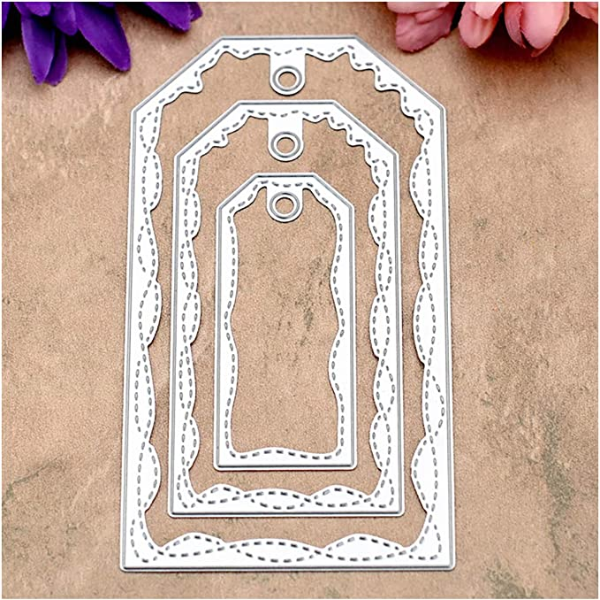Kwan Crafts Large Size 15cm Double Sew Thread Square Metal Die Cutting Dies for DIY Scrapbooking Photo Album Embossing