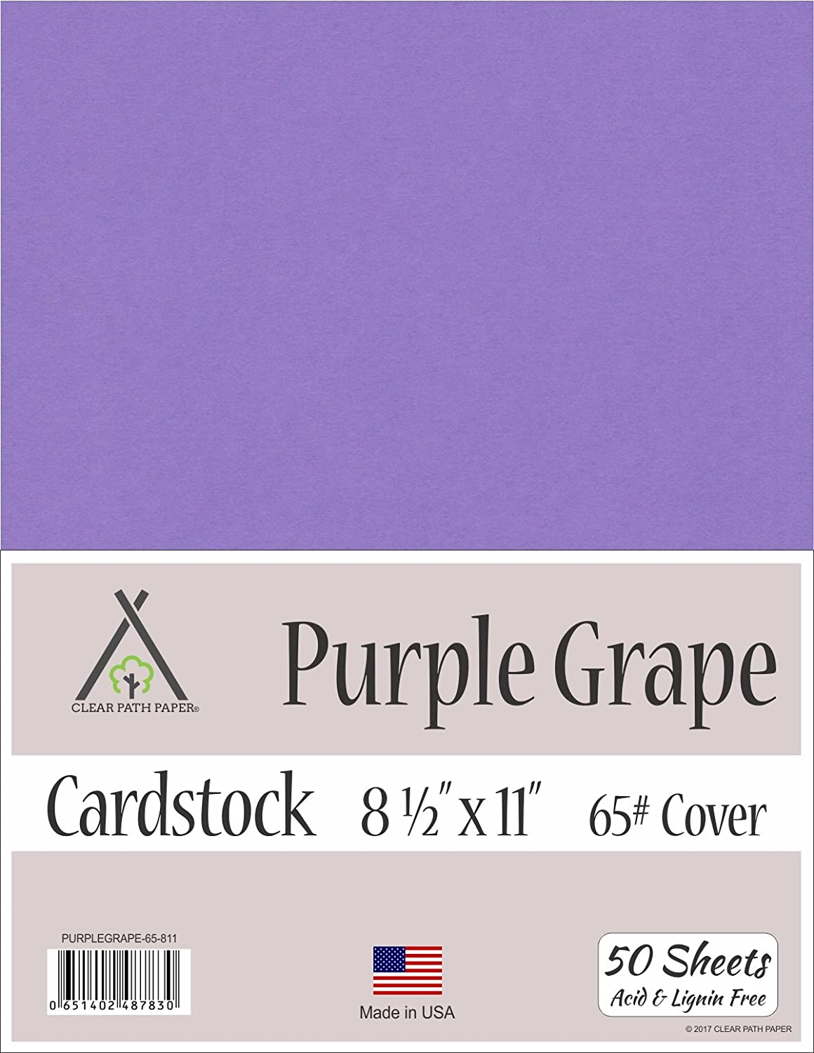 Purple Grape Cardstock - 8.5 x 11 inch - 65Lb Cover - 50 Sheets Clear Path Paper 4336868168