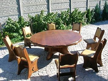 Runder Gartentisch Aus Massiv Eiche Oder Fichte Fur 8 Personen