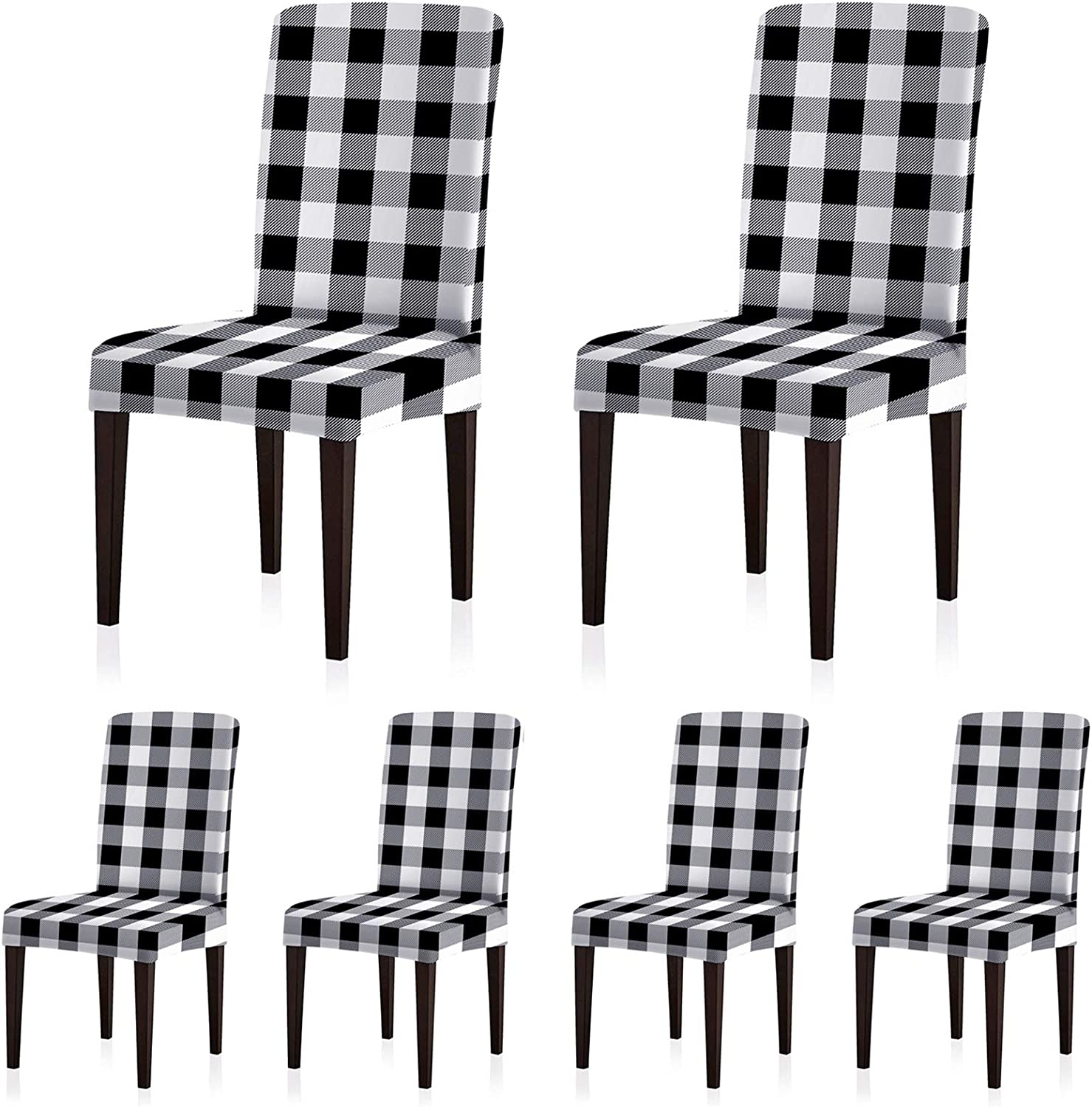 ColorBird Buffalo Check Spandex Chair Slipcovers Removable Universal Stretch Elastic Gingham Chair Protector Covers for Dining Room, Restaurant, Hotel, Banquet, Ceremony, Set of 6, Black/White Plaid