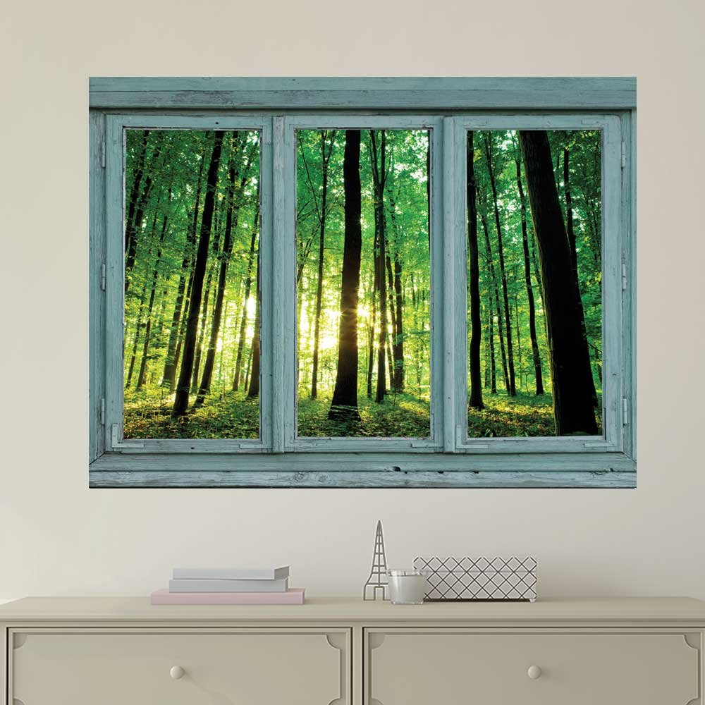 Vintage Teal Window Looking Out Into a Greenery Forest Wall Mural