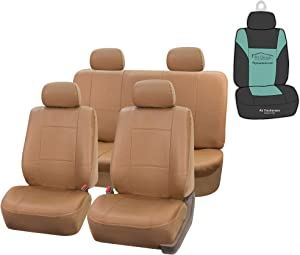FH Group PU001114 PU Leather Seat Covers (Tan) Full Set with Gift – Universal Fit for Cars Trucks & SUVs
