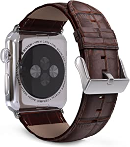 MoKo Compatible Band Replacement for Apple Watch 42mm 44mm Series 5/4/3/2/1, Premium Genuine Leather Crocodile Pattern Replacement Strap - Brown (Not Fit 38mm 40mm Versions)