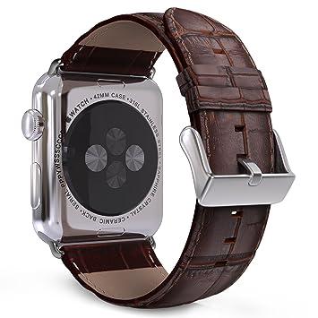 MoKo Correa para Apple Watch Series 5/4/3/2/1 42mm 44mm, Reemplazo Band de Reloj Cuero Cocodrilo Auténtico Imitado Pulsera Accesorios - Marrón
