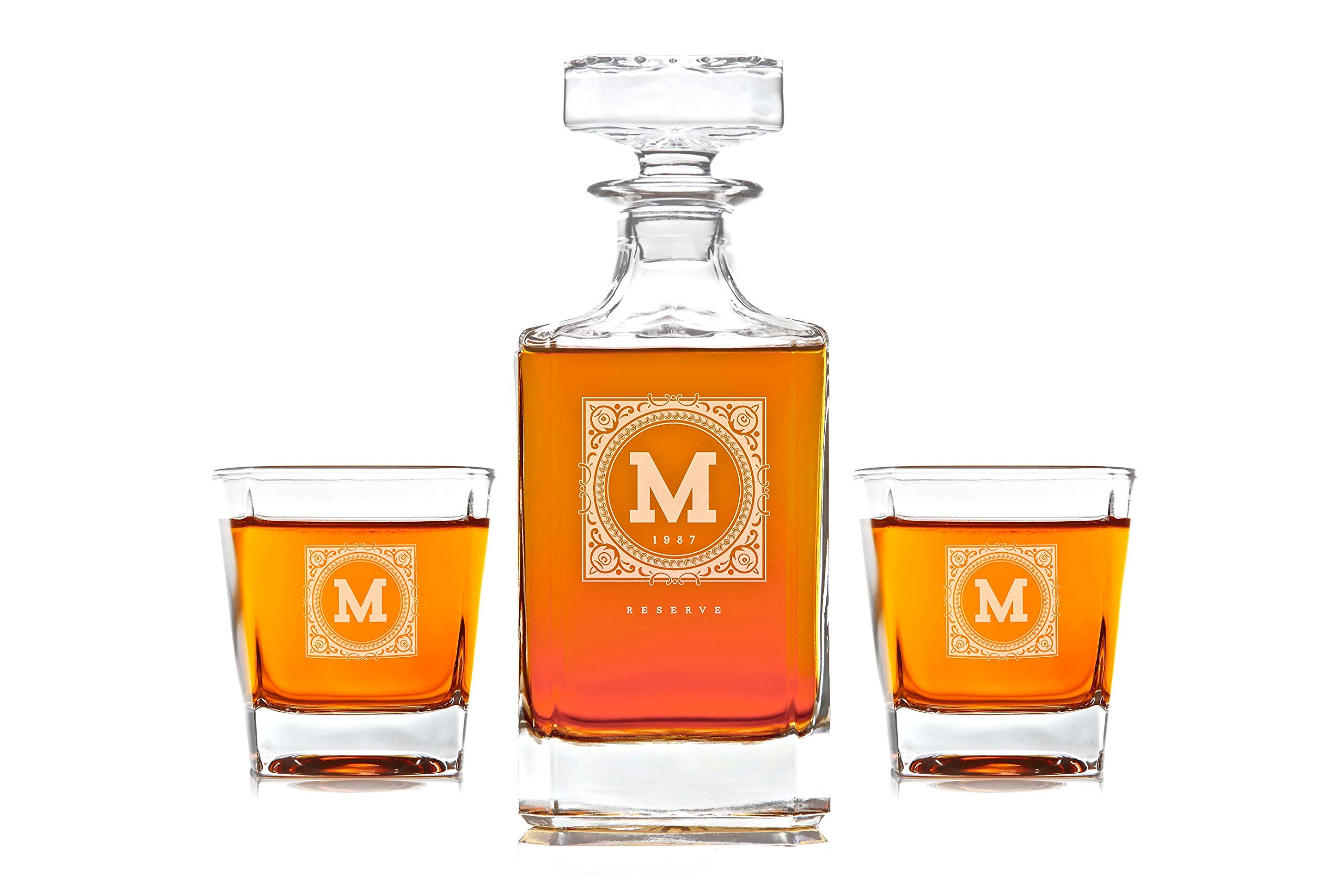 Personalized Whisky Decanter & Whiskey Glass Combo Lead Free : The Heirloom