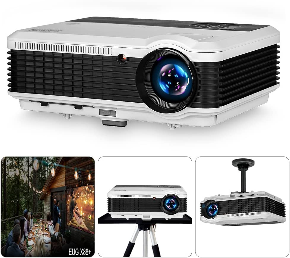 EUG 3900 Lumen WXGA LCD LED Digatal TV Projectors Home Theater with HDMI USB RCA Audio Ypbpr VGA Support Full HD 1080P Multimedia Outdoor Movie Proyector for DVD Laptop Xbox PS4 WiFi Dongle PC Roku