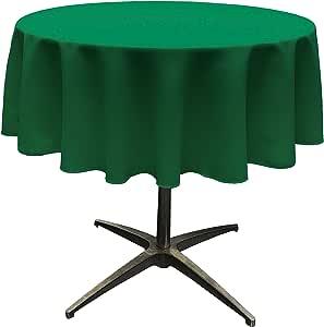 "LA Linen Polyester Poplin Round Tablecloth, 58"", Green Emerald"